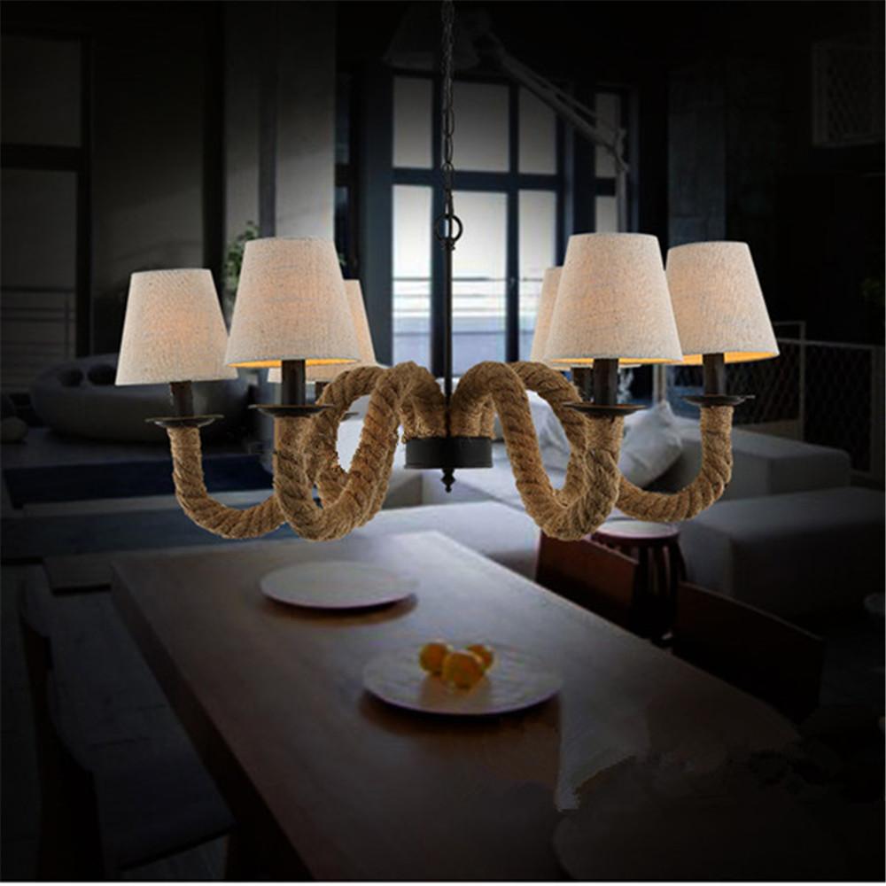 the latest modern creative chandelier vintage hemp rope