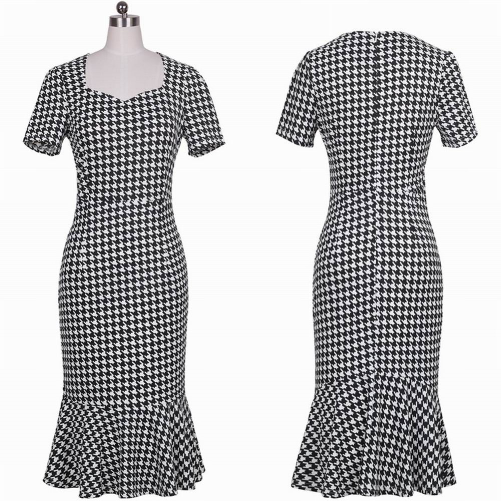 Women Formal Work Party Square Neck Cap Sleeve Mermaid font b Tartan b font Dress