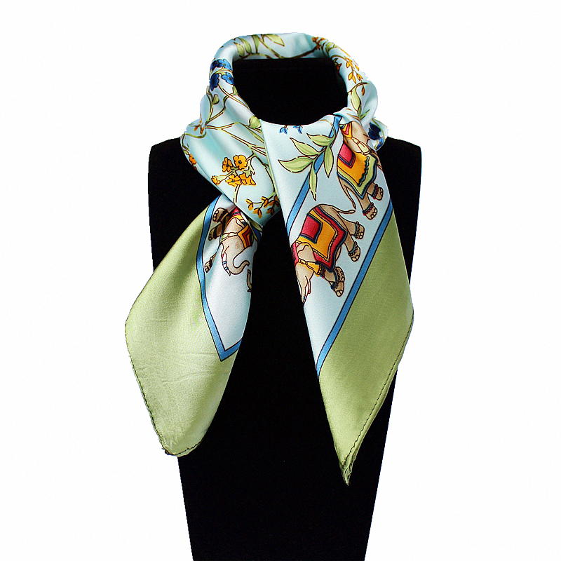 60cm*60cm Women 2016 New Fashion Imitated Silk Brand Tree and Leaf National Wind Elephants Printed Square Scarf Hot Sale Scarves(China (Mainland))