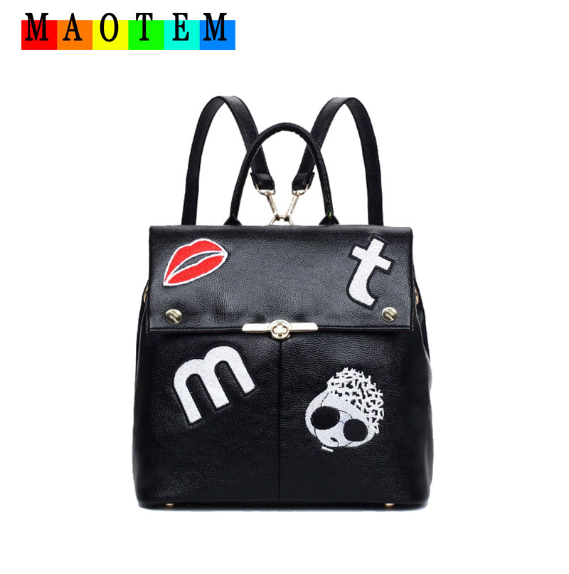 2016 New Korean Style Designer Embroidery Women Backpack,High Quality PU Leather Backpacks For High School Girl,MAOTEM Mochila(China (Mainland))