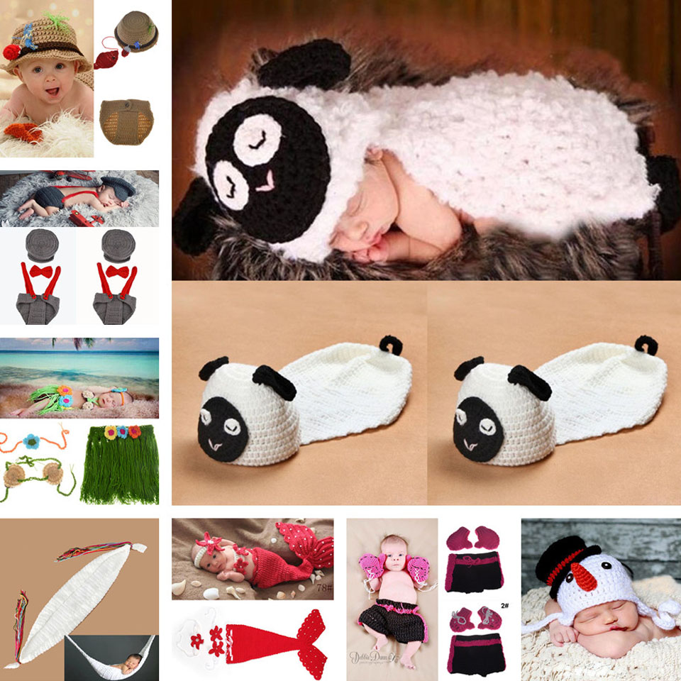 Lovely Lamb Baby Crochet Photo Props Infant Hand Crochet Hats Baby Crochet Costume Outfit Princess Mermaid Outfits MZS-14083(China (Mainland))