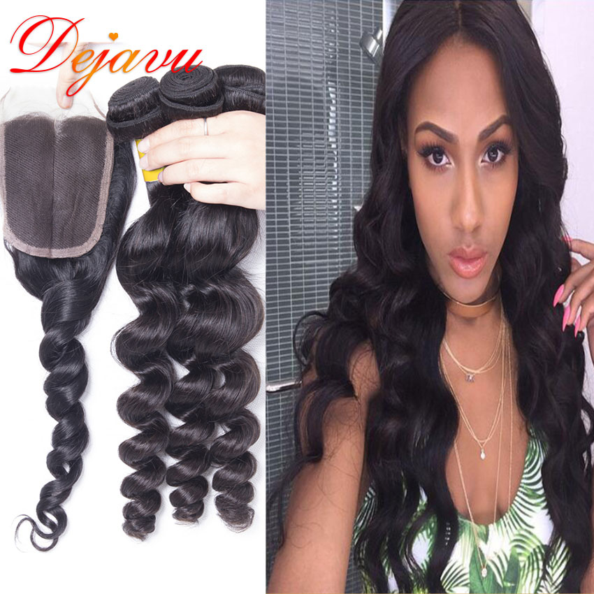 Cheap Bele Virgin Hair 7a Peruvian Loose Wave With Closure Peruvian Virgin Hair With Closure Hair Bundles With Lace Closures
