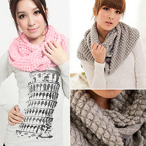 Bluelans Women Girl Winter Warm Infinity  2 Circle Shawl Cable Knit Cowl Neck Long Scarf
