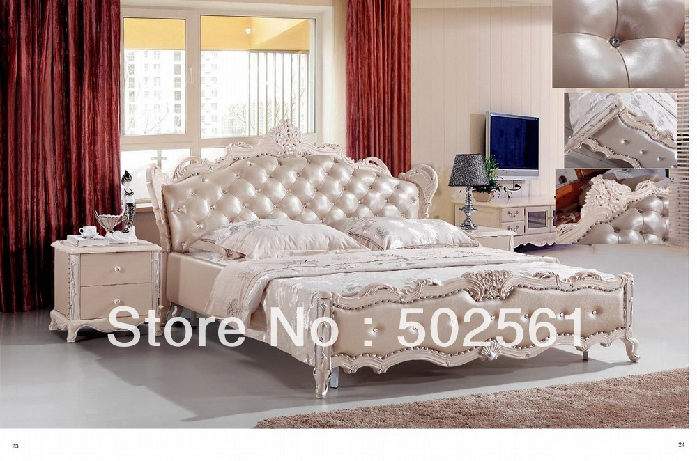 Bedroom Furniture 2014 online buy wholesale wooden bed with leather back from china