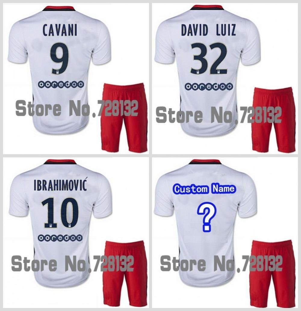 New 2015 2016 away white Football Jersey IBRAHIMOVIC DAVID LUIZ CAVANI VERRATTI LUCAS MATUIDI LAVEZZI psG jersey shirt,short set(China (Mainland))