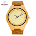 iBigboy Natural Bamboo Men Watch Wooden Wristwatch Genuine Leather Band Japan Quartz Movement Men Wood Watches