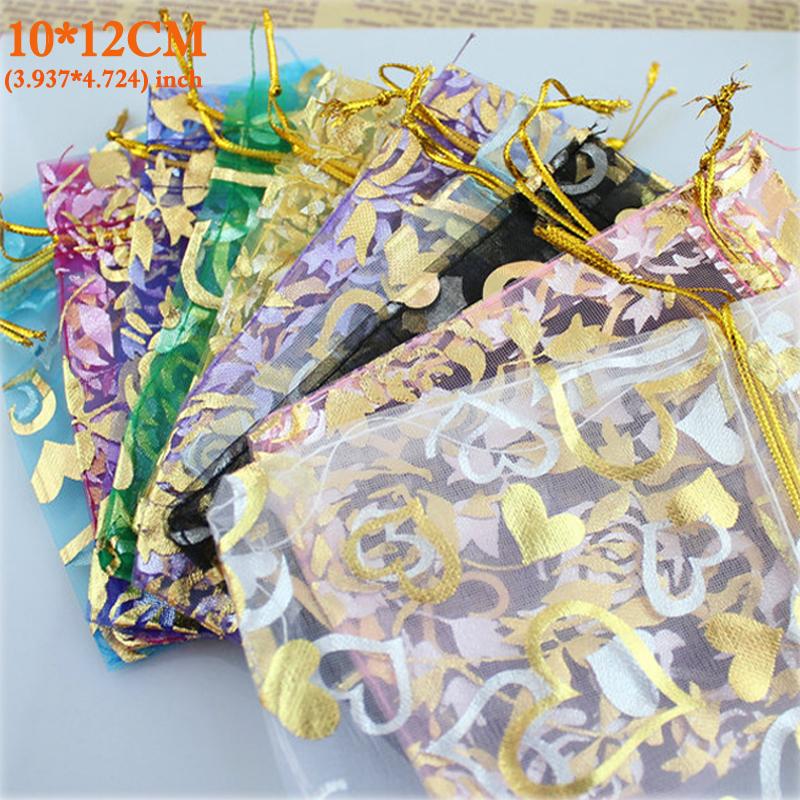 Organza Bag Packaging Bags Wedding Gift Bags 100pcs/pack Random Mix Drawable Organza Pouches10x12cm Bolsas de Organza Bags(China (Mainland))
