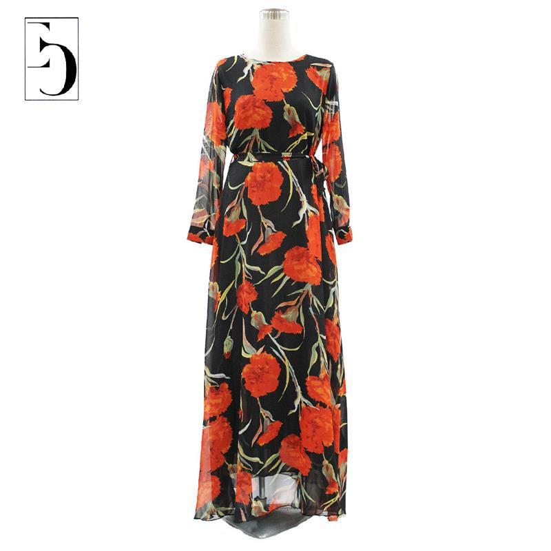 Women Summer Dress 2015 New M-6XL Chiffon Maxi Beach Dresses Long Print Chiffon Bohemian Plus Size Dress Women robe longue femme