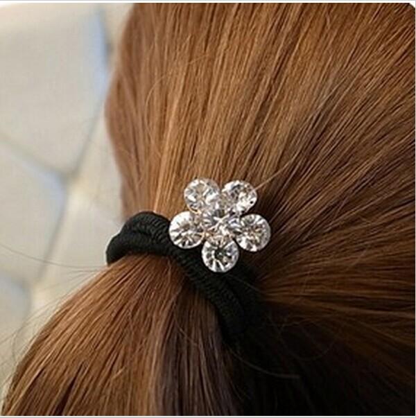 Lovely Rhinestone Plum Flower Hair Elastic Rubber band Hair Rope CJWD68(China (Mainland))