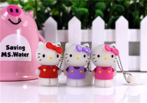 100% real capacity cute pink hello cat cartoon USB 2.0 Flash Drive/U Disk/Creativo Pendrive/Memory Stick/Disk/Gift S13(China (Mainland))