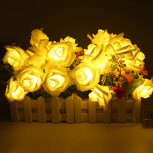 Battery operated 2M 20LED Holiday Light LED Rose Flower Fairy String Lights for Wedding Garden Party Christmas Decoration Party(China (Mainland))