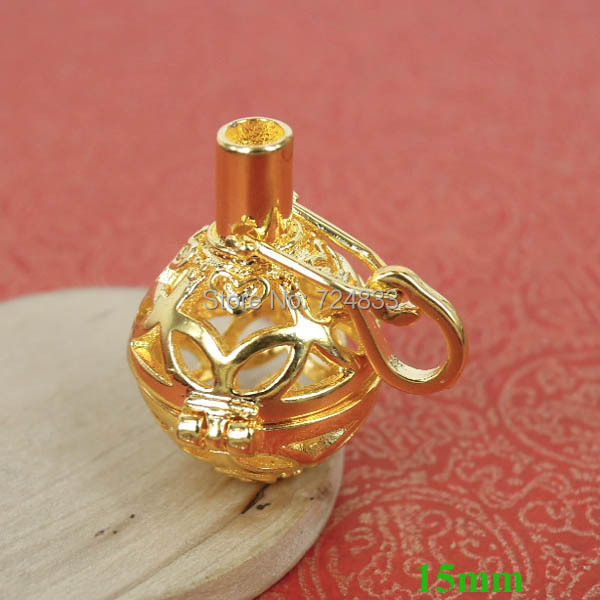 15mm New Gold tone Round Brass Wish Prayer Box Hollow Filigree Cage Locket Pendant Essential Oil Diffuser Wholesale(China (Mainland))