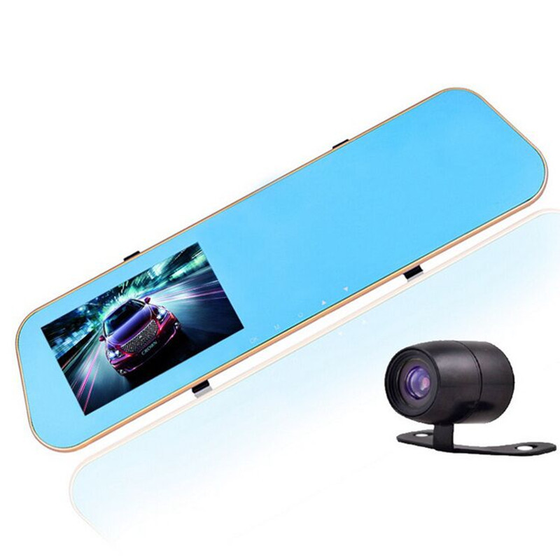 Promotions 4.3 inch car dvr mirror full hd 1080p car camera parking dual lens rearview mirror with dvr car dash cam(China (Mainland))