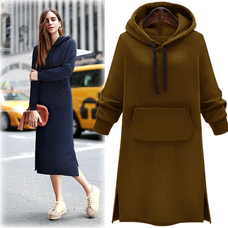 Autumn Winter Velour Tracksuit Women Fashion Solid Sweatshirt Long Khaki Hoodie Dress Jumper Fleece Buzos Space Chandal Mujer(China (Mainland))