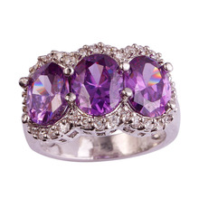 Buy lingmei Wholesale New Jewelry Brilliant Oval Cut Purple & White CZ Silver Color Ring Size 7 Unisex Party Rings Free for $4.25 in AliExpress store