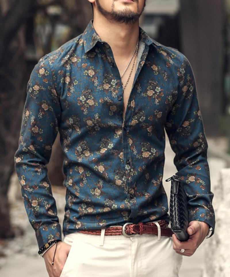 Men Shirt Floral Printing Long Sleeve Shirts Men Clothes