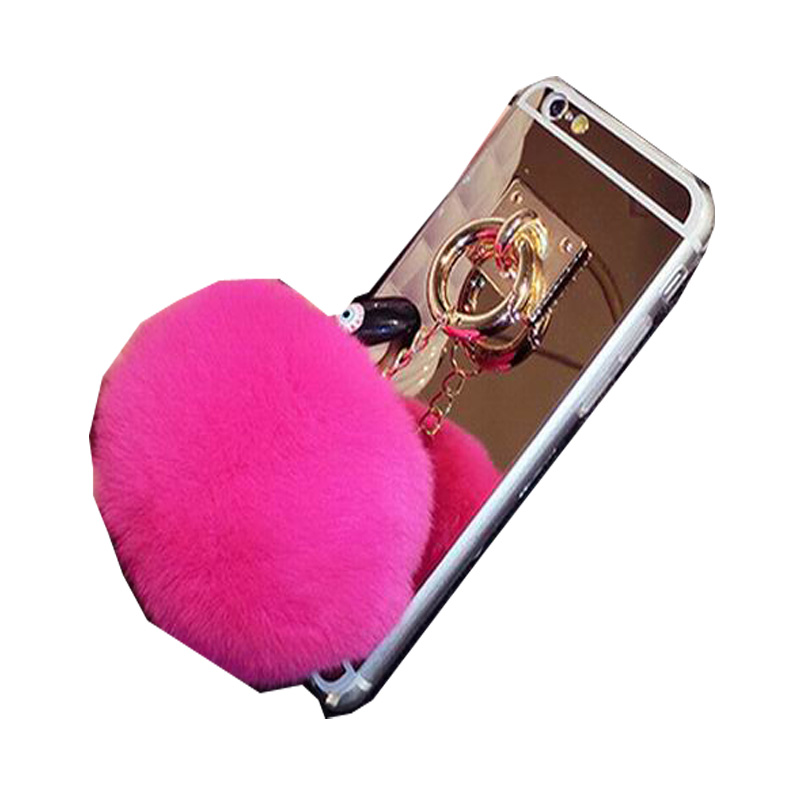Makeup furry mirror case for iphone 6 6s fundas rabbit fur for Coque iphone 6 miroir