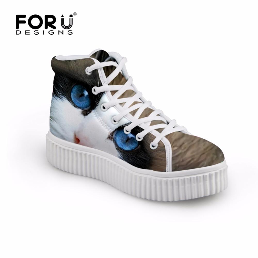 ซื้อ แมวมีสไตล์นกฮูกสุนัขใบหน้าสูงด้านบนรองเท้าแพลตฟอร์มสำหรับผู้หญิง3Dสัตว์พิมพ์ลูกไม้ขึ้นC Reppersรองเท้าสบายๆรอบนิ้วเท้าแบนรองเท้า