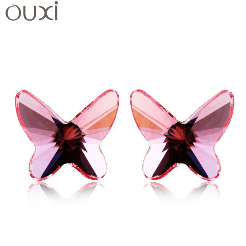 Best Quality Earrings for Women Butterfly Joyas Stud Earrings Made with Swarovski Elements Crystals from Swarovski OUXI ERA046(China (Mainland))