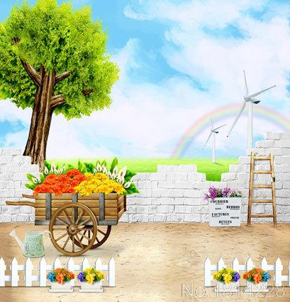 3x5FT Customize Photo Studio Backdrop Background Brick Rickshaw Flowers Grass Rainbow Baby Kids Children Printing Vinyl 1x1.5m(China (Mainland))