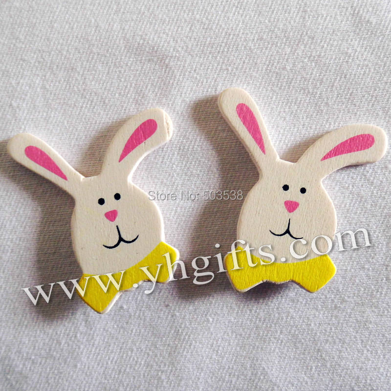 500PCS/LOT.Wood white rabbit stickers,3D animal sticker,Wall stickers,Easter crafts,Garden ornament,Plant decoration.3.5x4cm.OEM<br><br>Aliexpress