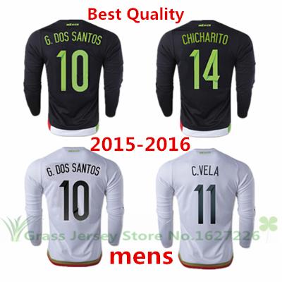 NEW 14 CHICHARITO 10 G.DOS SANTOS HOME Mexico long sleeve soccer jersey 2015 2016 Black White Shirt Away Football C.VELA 15 16(China (Mainland))