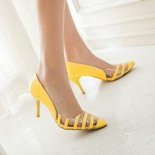 plus size 46 Elegant Classics sexy Pointed Toe non-slip woman fashion shoes High-heeled Casual Asakuchi ladies Stripe pumps