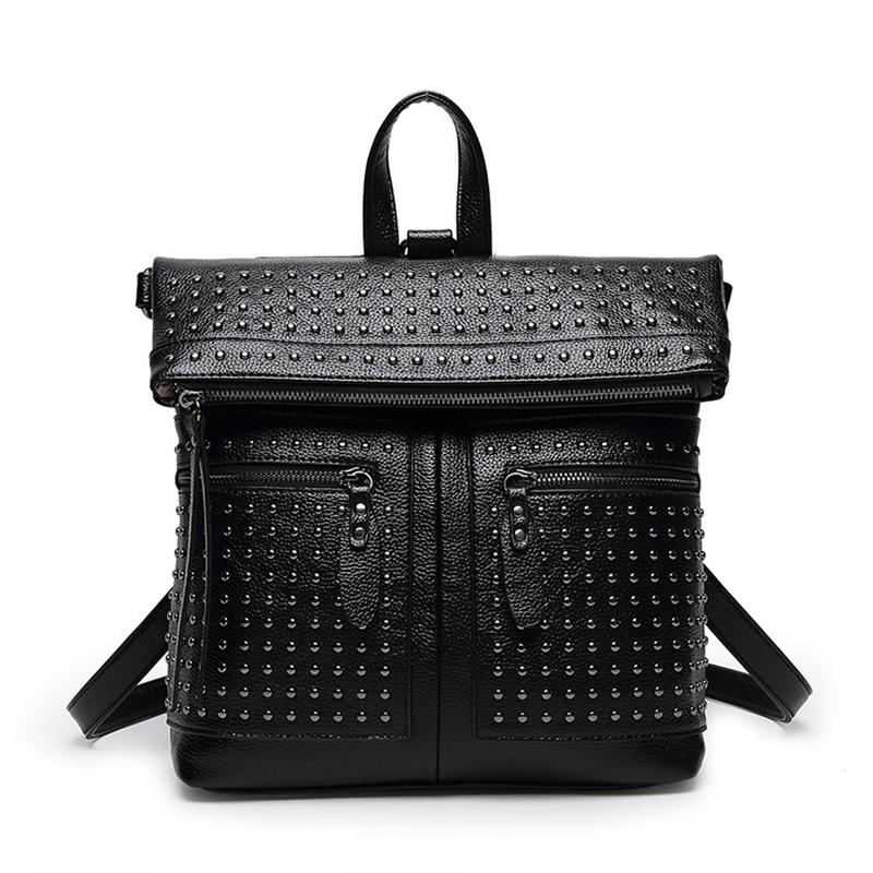 2016 New Besigner Brand Fashion Black Genuine Leather Backpack Women Designer Women Backpack Female Backpacks Hot Sales