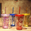 450ML Fashion Summer Drinkware Straw Cup Double Plastic Water Bottle with Lid Creative Iced Coffee Juice