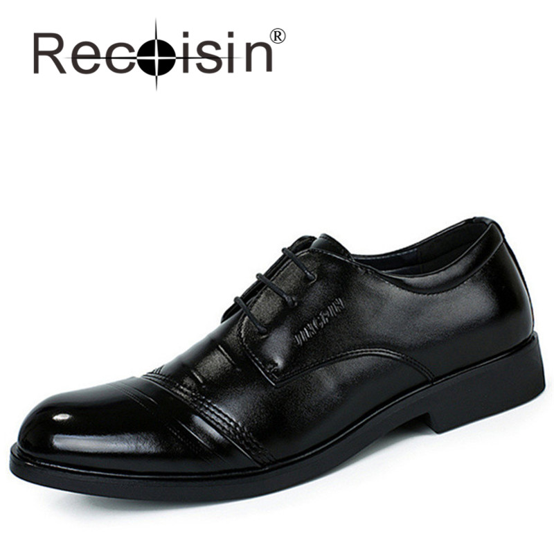 RECOISIN 3 Holes Vintage Men Oxfords Shoes Men Business Oxfords Shoes Lace-Up Pointed Toe Oxfords Flats Men Formal Wear 8101(China (Mainland))