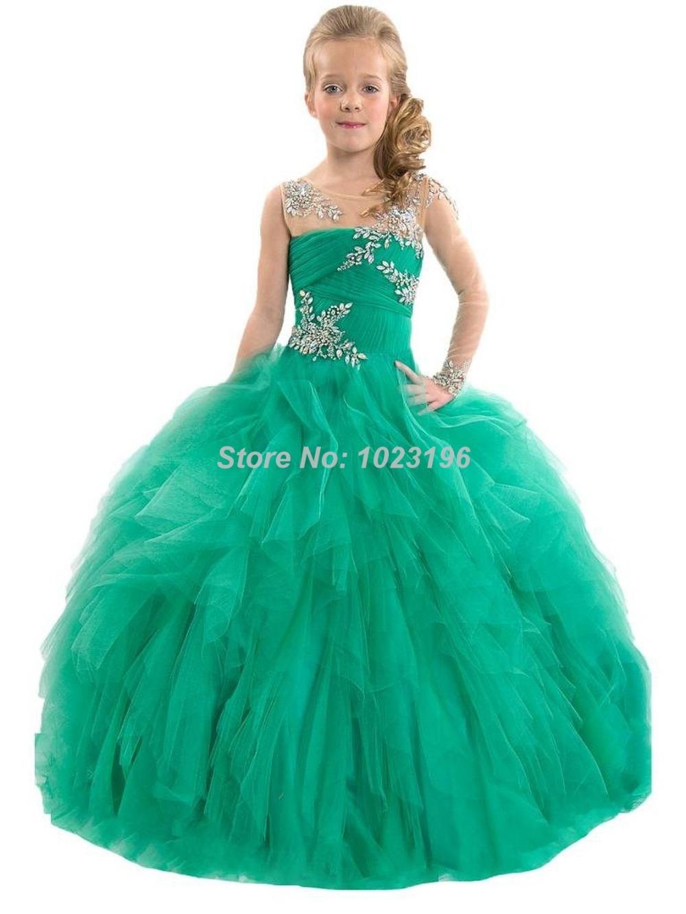 2015 игристое зеленый кристалл оборками тюль девочки конкурс платье одно с длинным рукавом фестиваль девушок цветка платье именинница платье