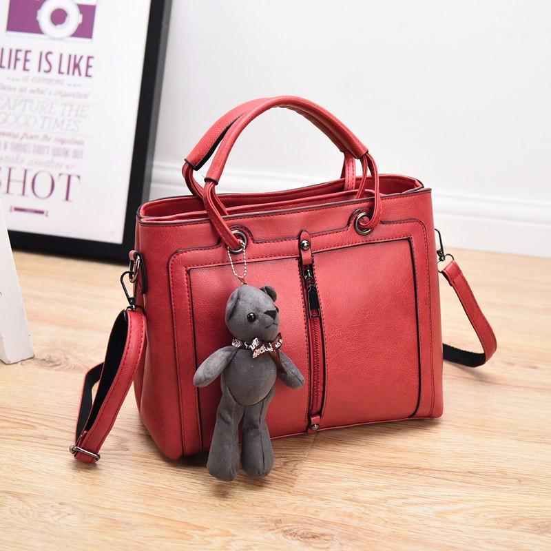 Occident Style Retro Front Zipper Hand Bag Women Simple PU Leather Handbag Small Crossbody Bag Ladies Trendy Casual Shoudler Bag