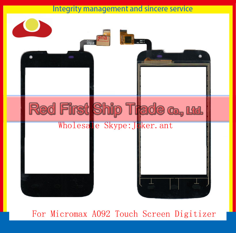 High Quality For Micromax A092 Unite Touch Screen Digitizer Sensor Front Glass Lens Black Free Shipping(China (Mainland))