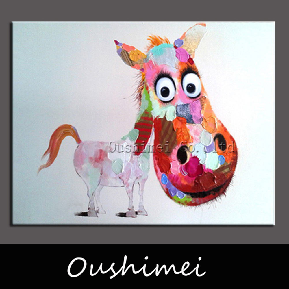 Hand-painted-Lovely-Pony-Wall-Art-Beauty-Funny-Animal-Home ...