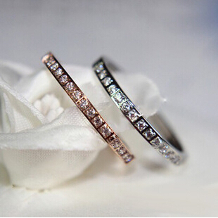 316L Titanium Steel Fashion crystal love semicycle silver design large stone rings designs women 2015 with zircon guard R160(China (Mainland))