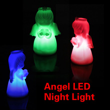 D1U#  Romantic LED Colorful Changing Villain Lights Angel Night Light Energy Saving LED Lamp Free Shipping(China (Mainland))