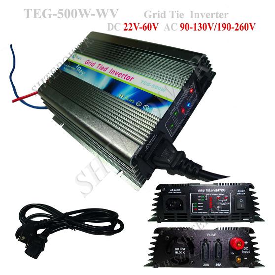 dc 22-60v to ac adjustable 90-130v 190-260v on grid tie solar power inverter 500w(China (Mainland))