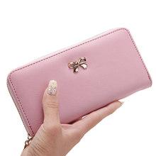 2019 mulheres longas carteiras de embreagem moda feminina couro do plutônio bowknot coin bag telefone bolsas famoso designer senhora cartões titular carteira(China)