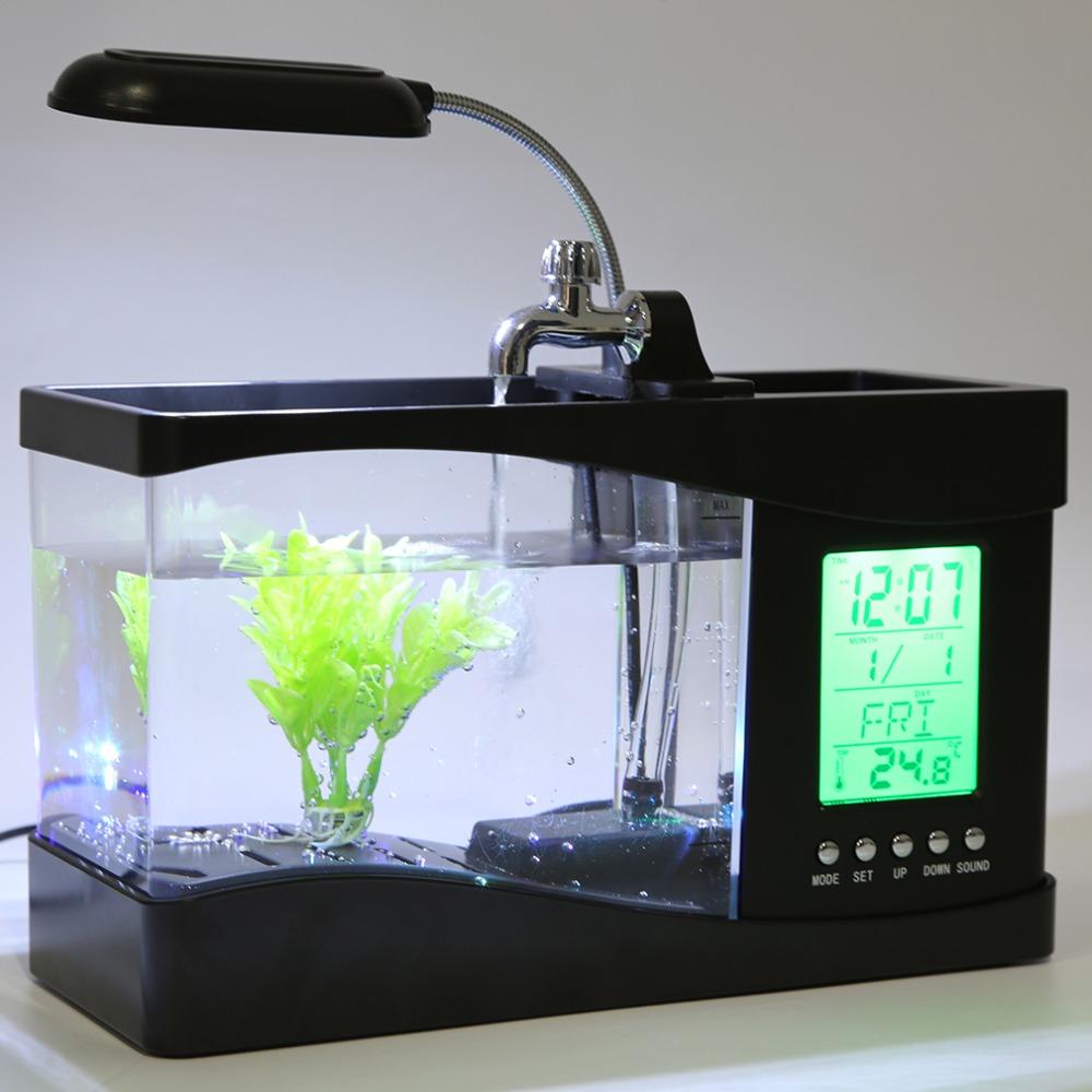 2016 Popular New USB Desktop Mini Fish Tank Aquarium LCD Timer Clock LED Lamp Light Black(China (Mainland))