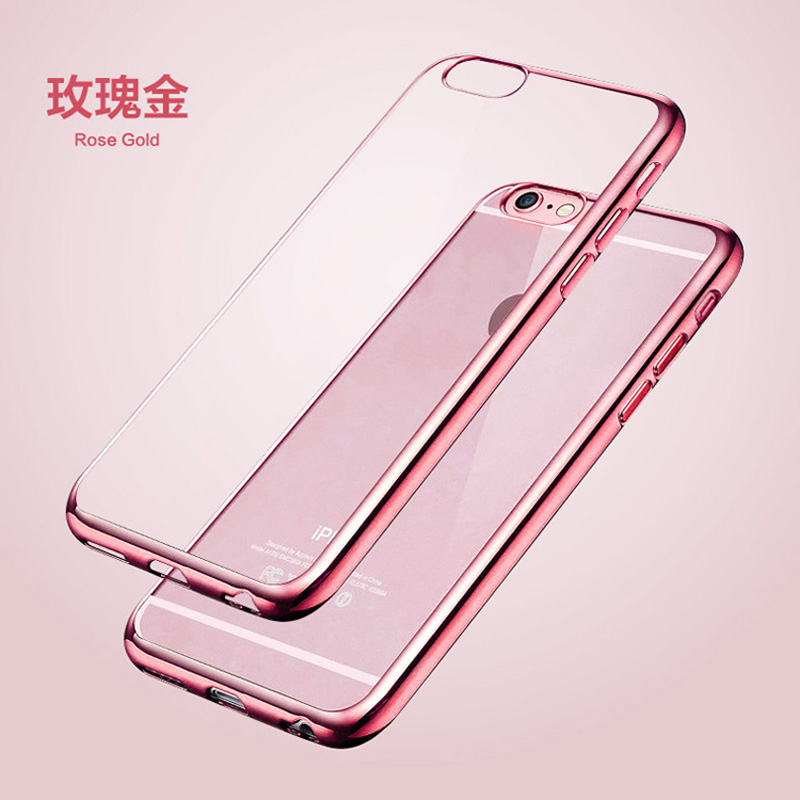 New ! Luxury Ultra Thin Clear Crystal Rubber Plating Electroplating TPU Soft Mobile Phone Case For iPhone 6 6s Plus Cover bag(China (Mainland))