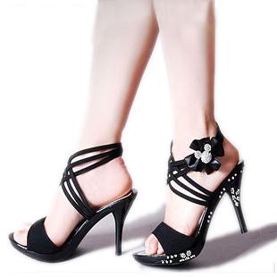 Luxury Rhinestone Stiletto Platform Flower Bow Sandals Women's Shoes(China (Mainland))