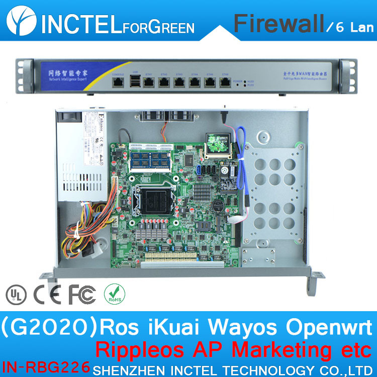 ROS 6 Gigabit Flow Control VPN Router with G2020 CPU 1000M 6*82574L 2 Groups Bypass Model Number IN-RBG226(China (Mainland))