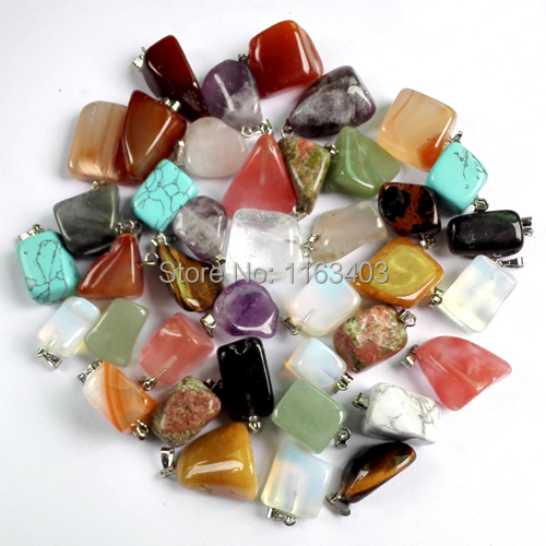 Wholesale Irregular Natural stone pendants mixed Fashion Point Pendant Charms Jewelry teardrop Opal necklaces 36ps free shipping(China (Mainland))