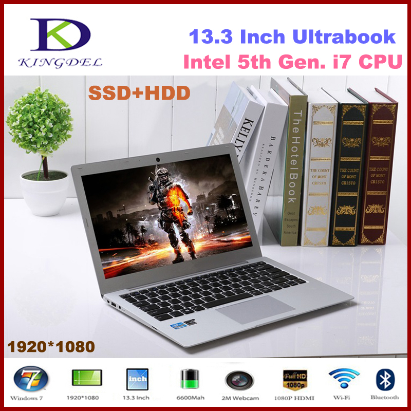 Kingdel Ultra thin 13.3 inch Intel i7 5th Generation CPU Laptop Notebook with 8GB RAM 128GB SSD 1920*1080, Metal, 8 Cell Battery(Hong Kong)