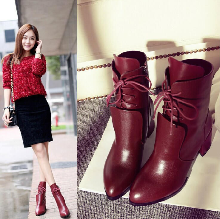 Eur34 40 2015 free shipping Autumn genuine leather fashion boots winter women shoes hot wine red ...