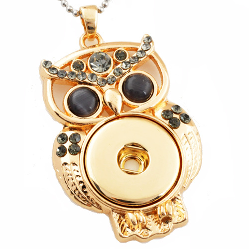 G00054 with stainless steel chain owl button necklace snap button pendant jewelry
