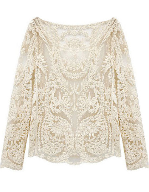 Sheinside 2015 New Spring Fashion Women Clothing Brand Designer Casual Vintage Beige Long Sleeve Hollow Crochet Lace Blouse(China (Mainland))