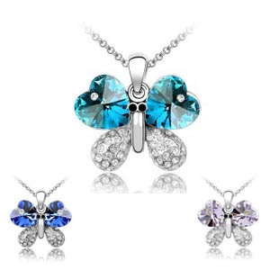 Girls accessories crystal necklace - butterfly Violet 4055-2-6 2