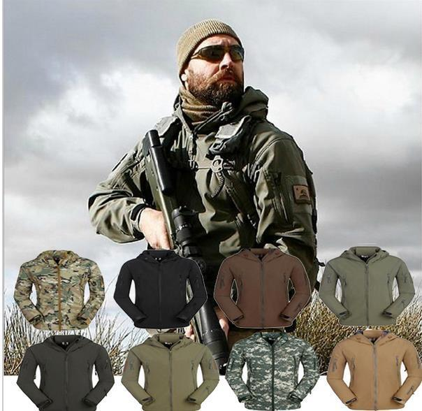 TAD Shark Skin Camouflage Outdoors Military Jacket Men Waterproof Tactical Softshell Sports Hoodies Army Hunting Outdoor Jackets - CHENXUAN NELLY Hip Hop store