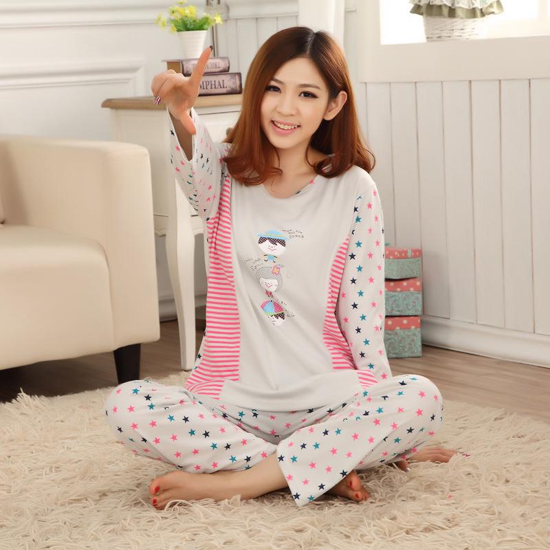 Spring Autumn Full Sleeve Cotton Women Sleepwear Casual Home Clothes Cartoon Pajamas Stars Nightwear Pajama Set - chengfu zhang's store
